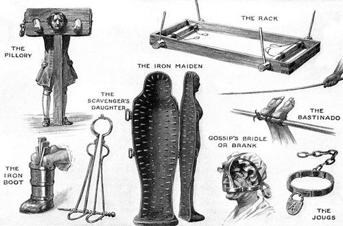 Instruments of torture from the dark Medieval days