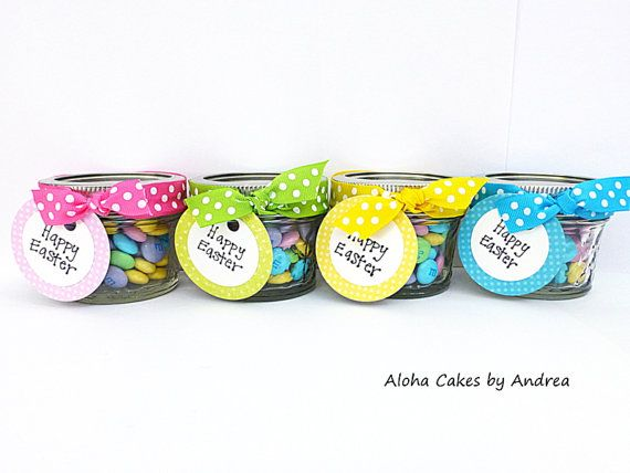 Easter basket stuffer easter mini candy jar by alohacakesbyandrea easter basket stuffer easter mini candy jar easter gift set of 4 via etsy negle Image collections