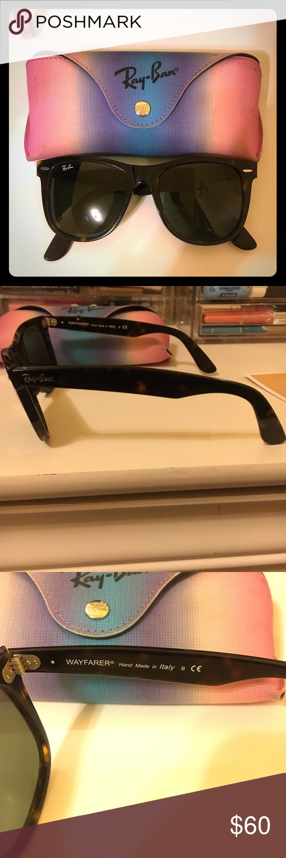 Ray-Ban Wayfarers Tortoise shell. Comes with pouch. They do sit a ...