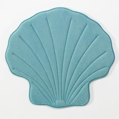 Aqua Sea Shell Memory Foam Bath Rug