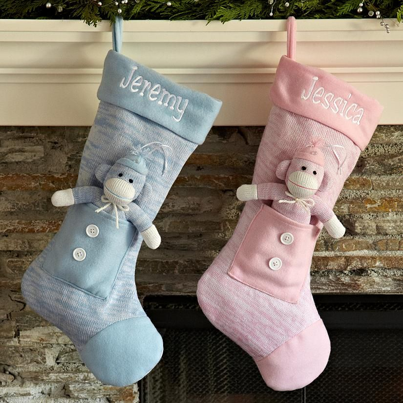 Baby's first christmas stocking with sock monkey ...
