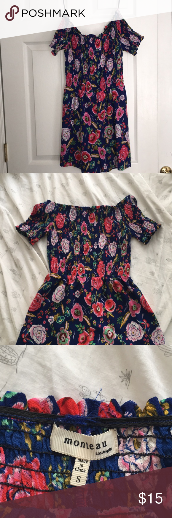 e58b54454daf Small blue off the shoulder floral romper I ve only wore it a few times