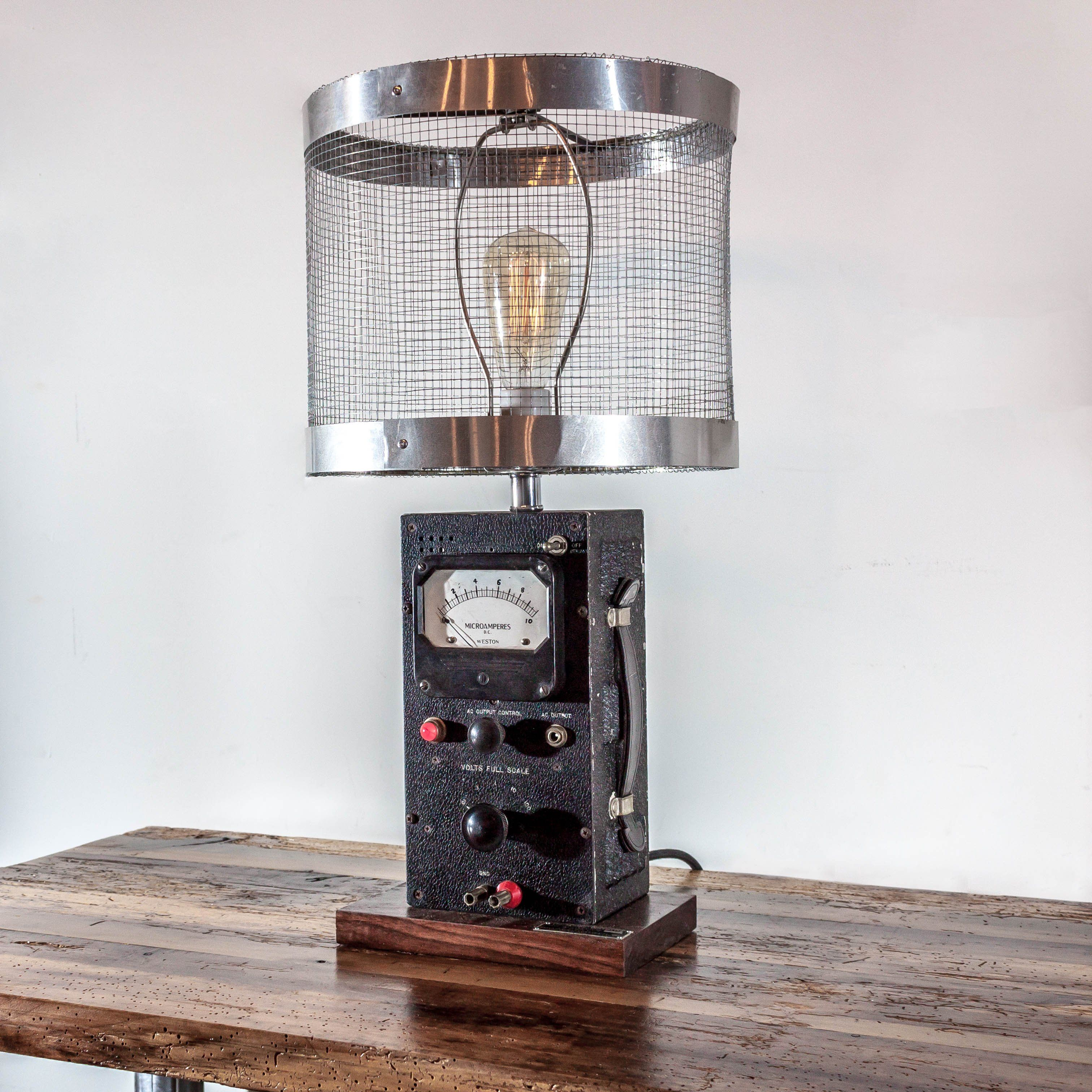 300  The Vintage Industrial Ammeter Lamp