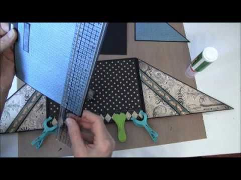 How to build a photo mini album with G45 Olde Curiosity Shoppe paper collection Part 15 - YouTube