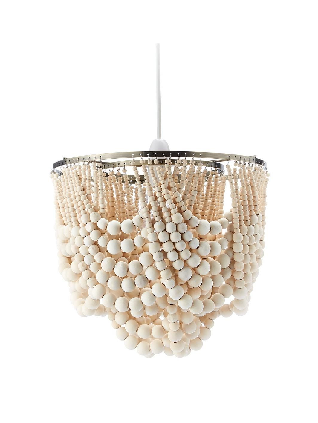 Miller Wooden Bead Easy Fit Ceiling Light Shade (With
