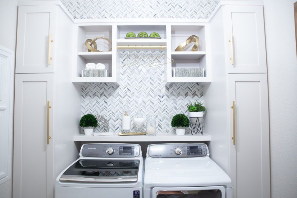 Laundry Room Makeover Built In Top Loader Washer And Dryer A Utility Room Transformation That Will Wow You Laund Laundry Room Makeover Home Remodeling Home