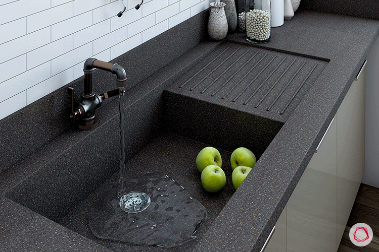 One Piece Kitchen Countertop And Sink Designs Contemporary