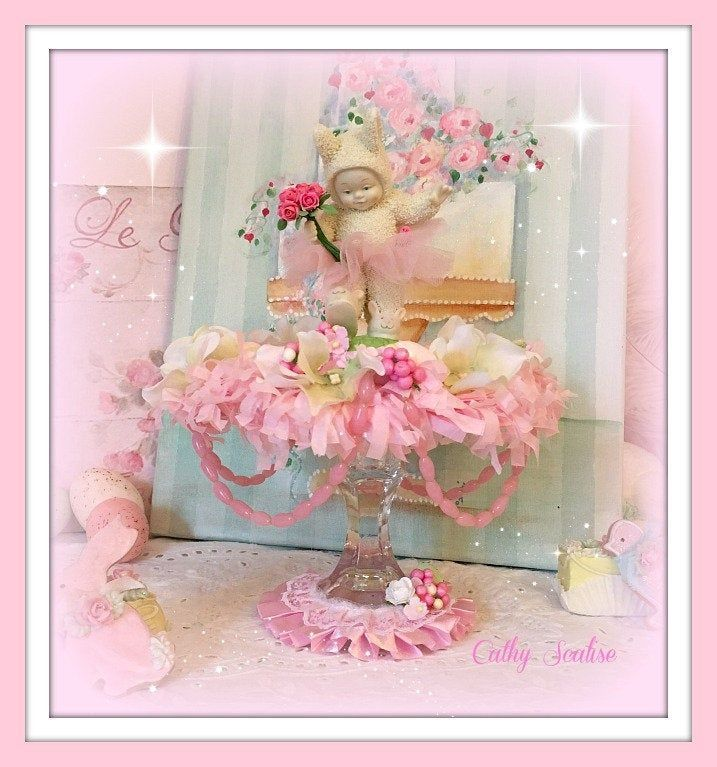 Easter Bunny Centerpiece, Pastel Spring Decoration, Romantic Homes, Pink Cottage Country Chic Shabby Whimsical Decor, Home Decor - #bunny #centerpiece #decoration #easter #pastel #romantic #spring - #CountryHomeDecor
