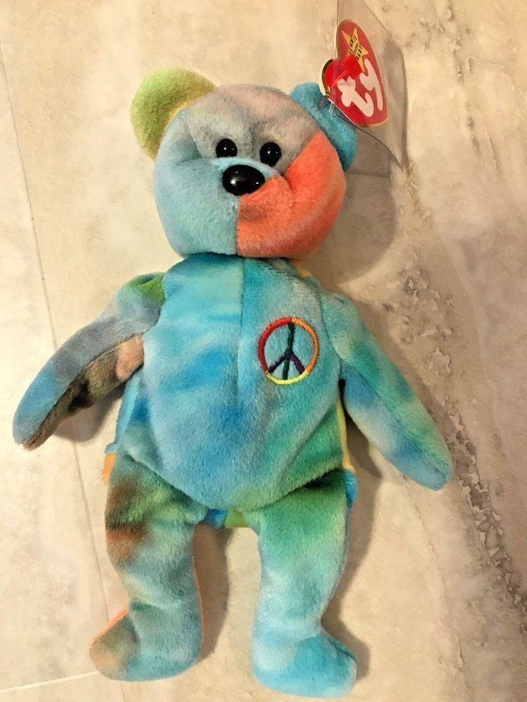 Beanie Bear Authenticated Peace Bear 1996 Retired Rare Rainbow Colors PEACE  TAG  Ty 12dcfa7df2