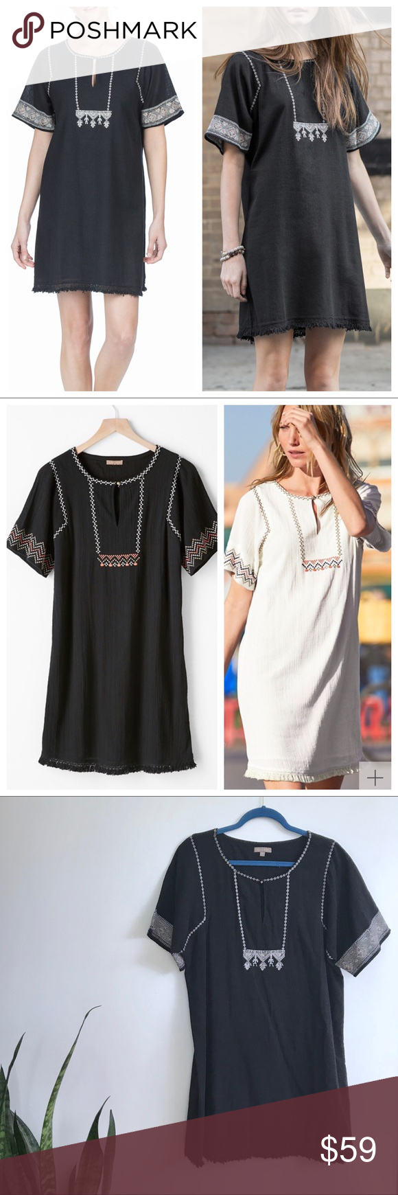 2da8e204b0825 Lilla P Woven Gauze Embroidered Short Sleeve Dress Size L Excellent  preowned condition Intricate embroidery gives this breezy dress  globe-trotting style.
