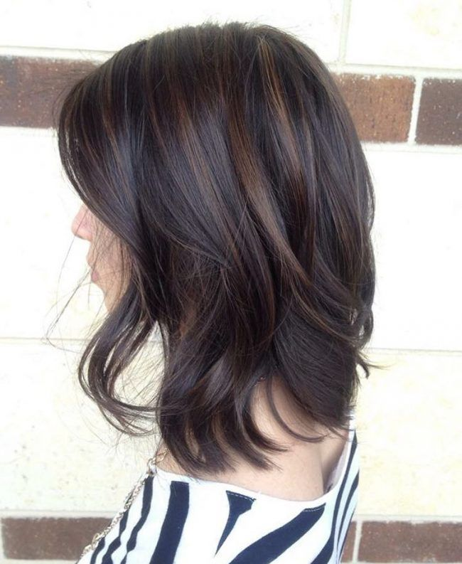 Dark Chocolate Streaks On A Black Base Sofisty Hairstyle Balayage Hair Hair Color For Black Hair Hair Color Balayage
