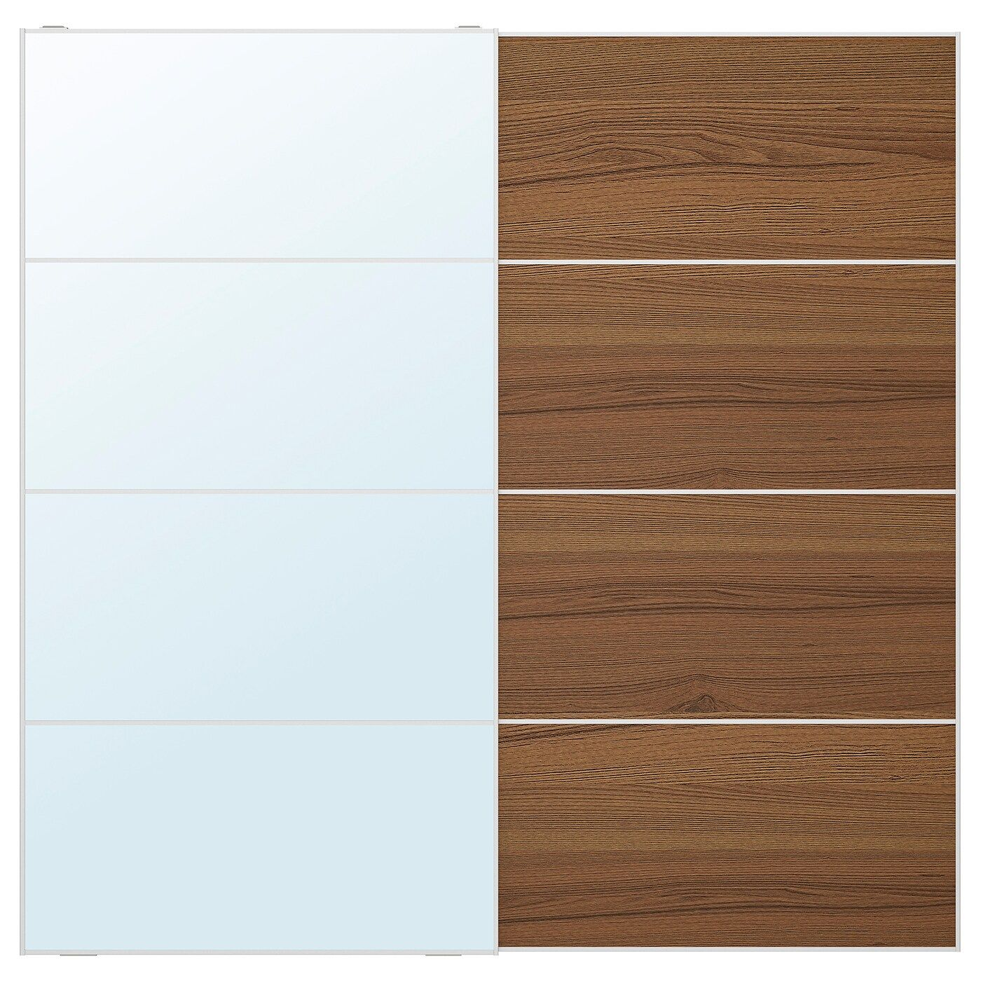 Auli Mehamn Pair Of Sliding Doors Mirror Glass Brown Stained
