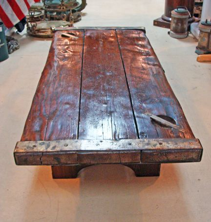 Nautical Thick Pine Coffee Table Made Using An Authentic Wwii Era Liberty Ship Hatch Cover Traditional Harvest Style Wood Base And Original Metal
