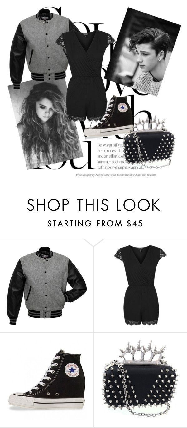"""so in love with you ~ b and w"" by the-neon-rose ❤ liked on Polyvore featuring Topshop, Converse, women's clothing, women, female, woman, misses and juniors"