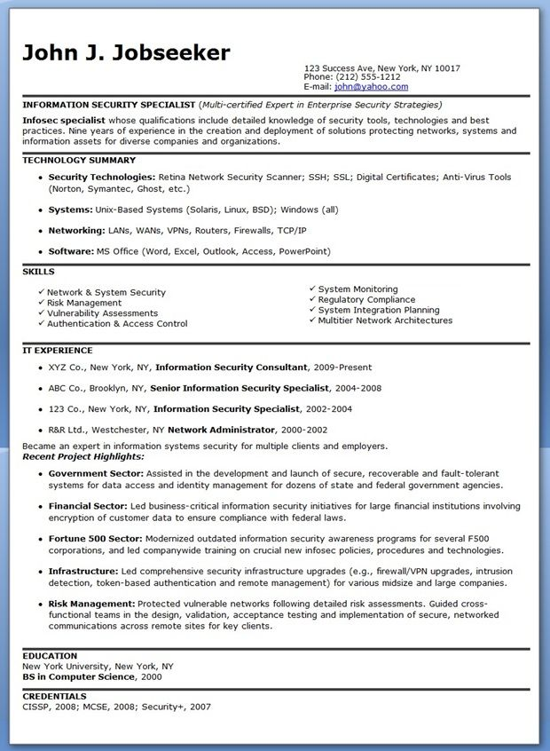 Information Security Specialist Resume Sample Creative Resume - cyber security resume