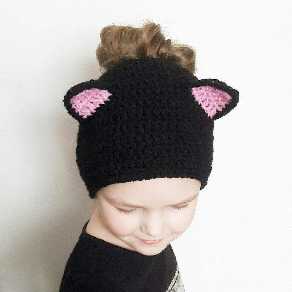 Messy Bun Cat Ears Beanie Must Have For Every Girl Crochet Animal Hats Crochet Cat Ears Crochet Patterns Hats Kids