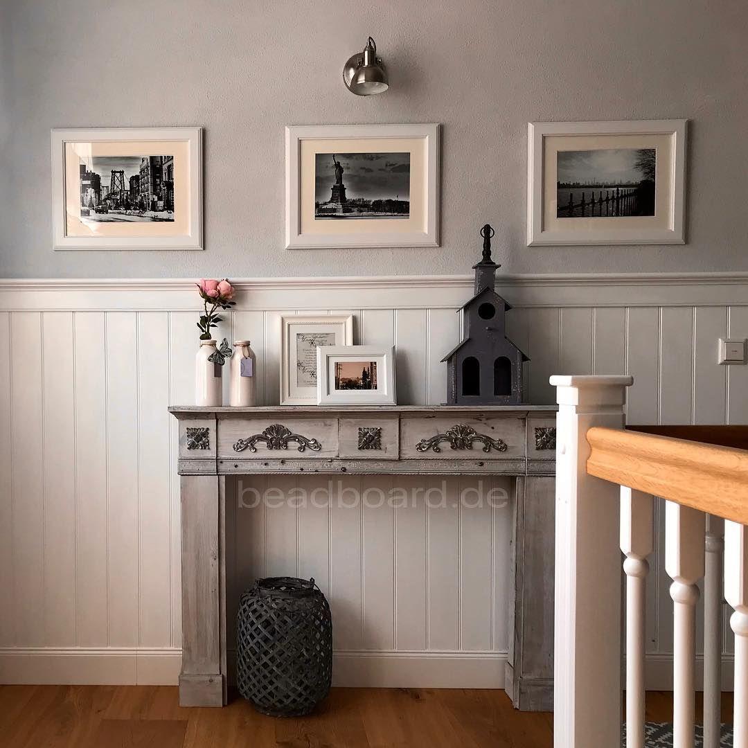 Traumhafte Diele Wandpaneele Wandvertafelung Holzpaneele Dekoliebe Landhausliving Inneneinrichtung Wood Cladding Entryway Decor Country Style Living Room