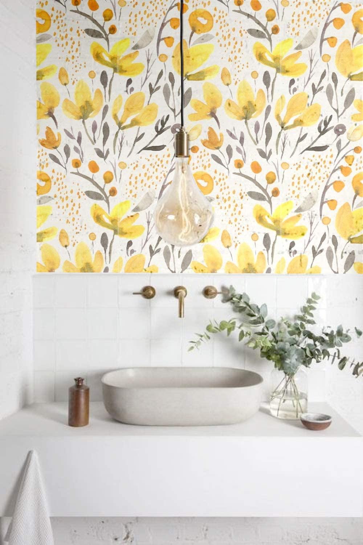 Amazon Com Blooming Wall Ps032 Peel Stick Handpainting Watercolor Seamless Yellow Fresh Floral Kapok Self Adhes Wall Wallpaper Prepasted Wallpaper Wall Murals
