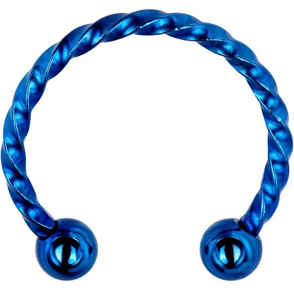 16 Gauge 1 2 Blue Ip Seriously Twisted Horseshoe Curved Barbell Earrings