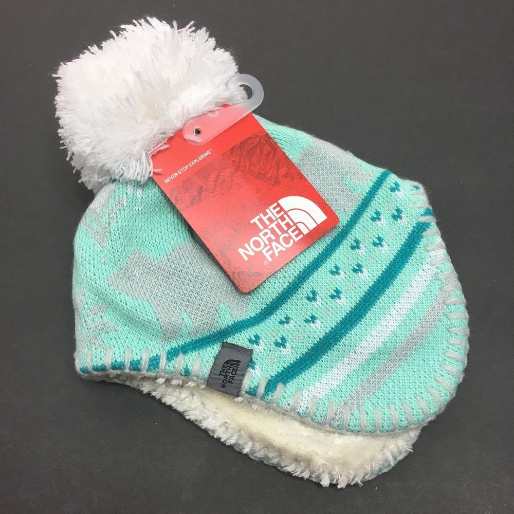 North Face Infant Baby Faroe Beanie Knit Hat Pom Pom XXS 0-6 Months Mint 8f55a4da36b