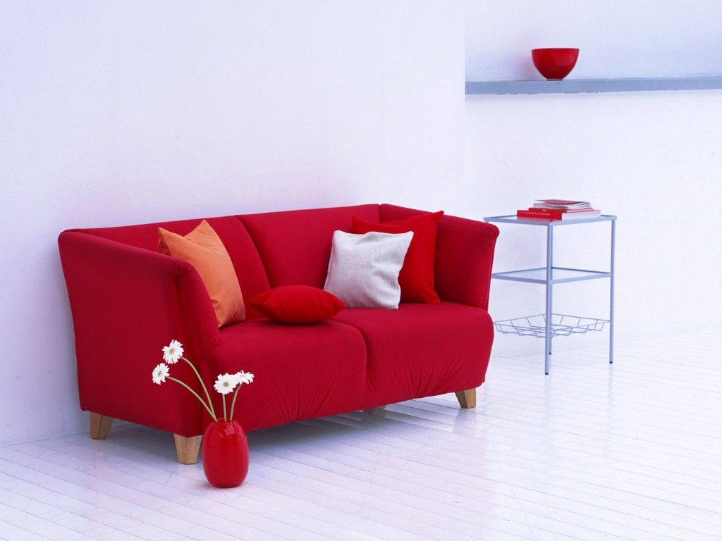 Minimalist Red Sofa