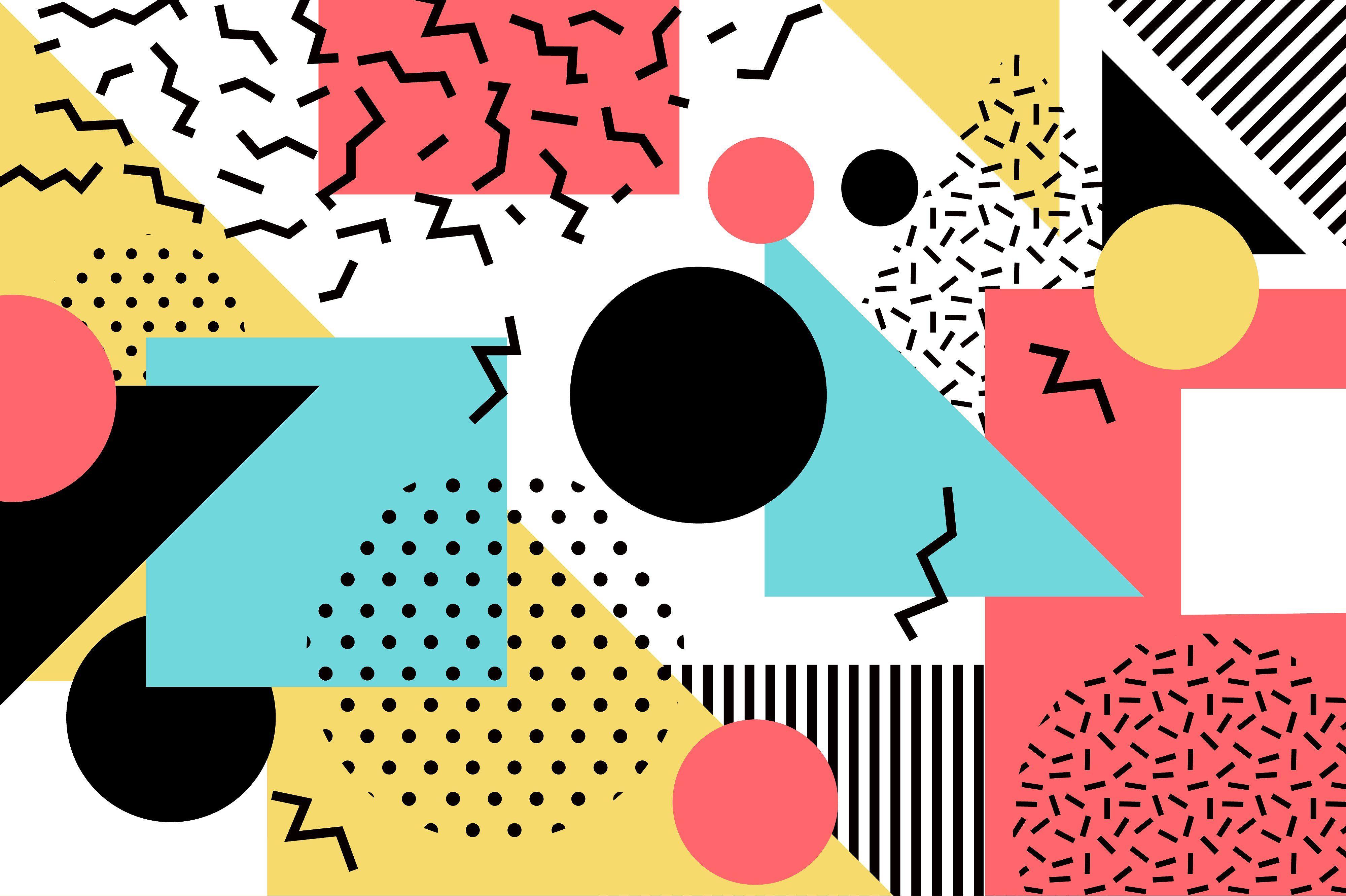 Memphis geometric background by Snita on @creativemarket #memphisdesign