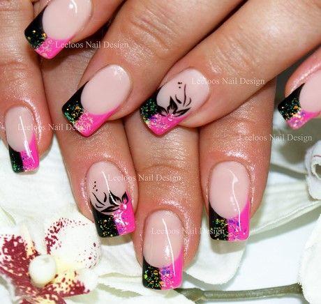 Nageldesign Pink Schwarz Nageldesign Schwarz Nail Art