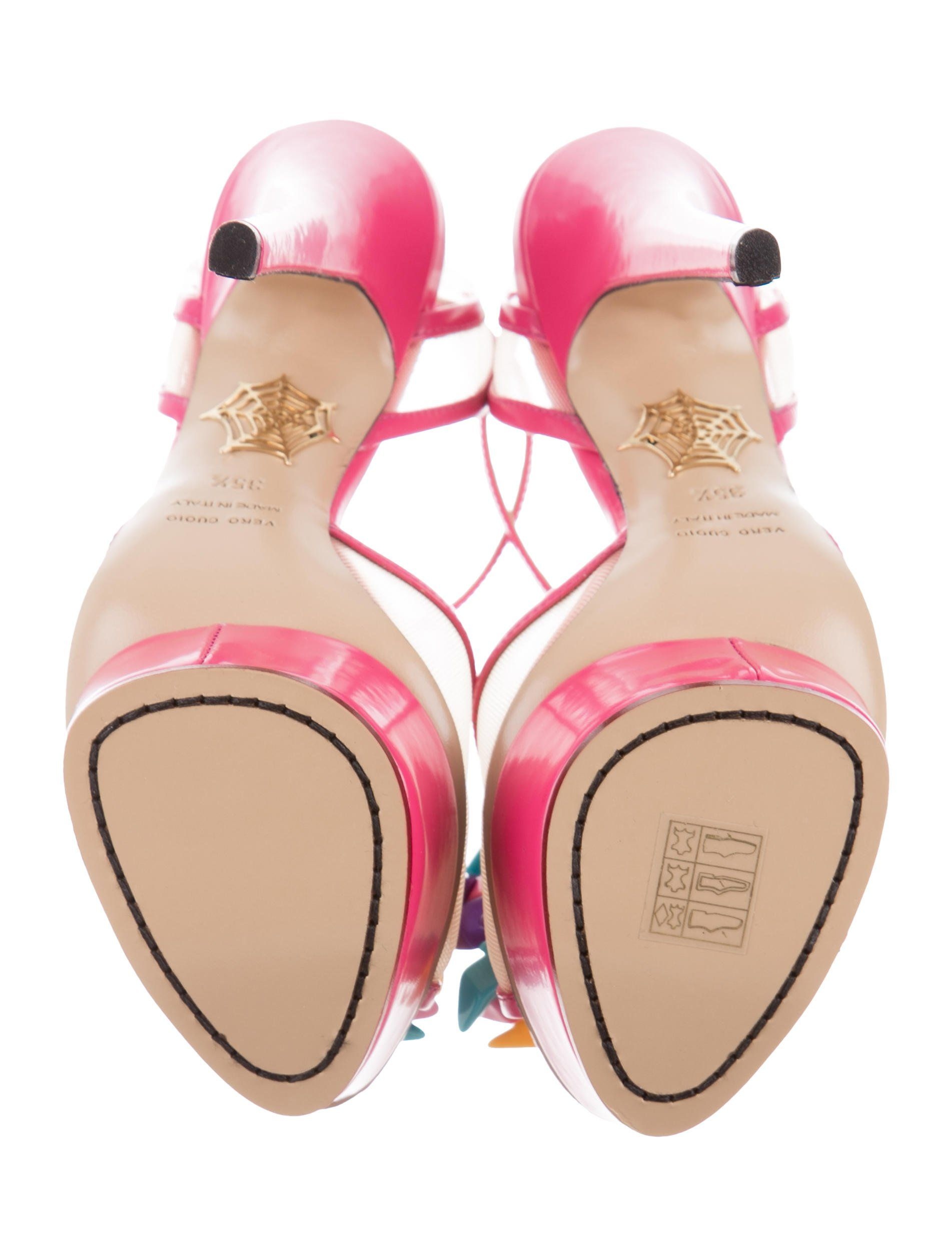 ba416175ef99 Pink patent leather Charlotte Olympia Barbie platform sandals with mesh  vamps featuring shoe adornments