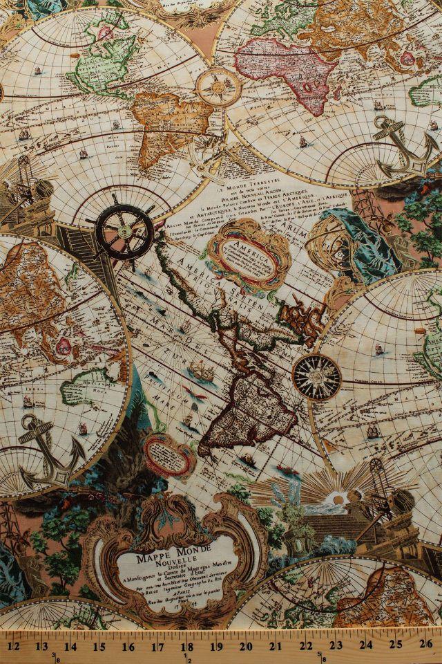 Renaissance man world map mapping skills cotton fabric print by the renaissance man world map mapping skills cotton fabric print by the yard d58231 gumiabroncs Images