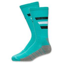 Women's adidas Team Speed Traxion Crew Socks- Medium| Finish Line | Hyper Green/Light Onyx/Black