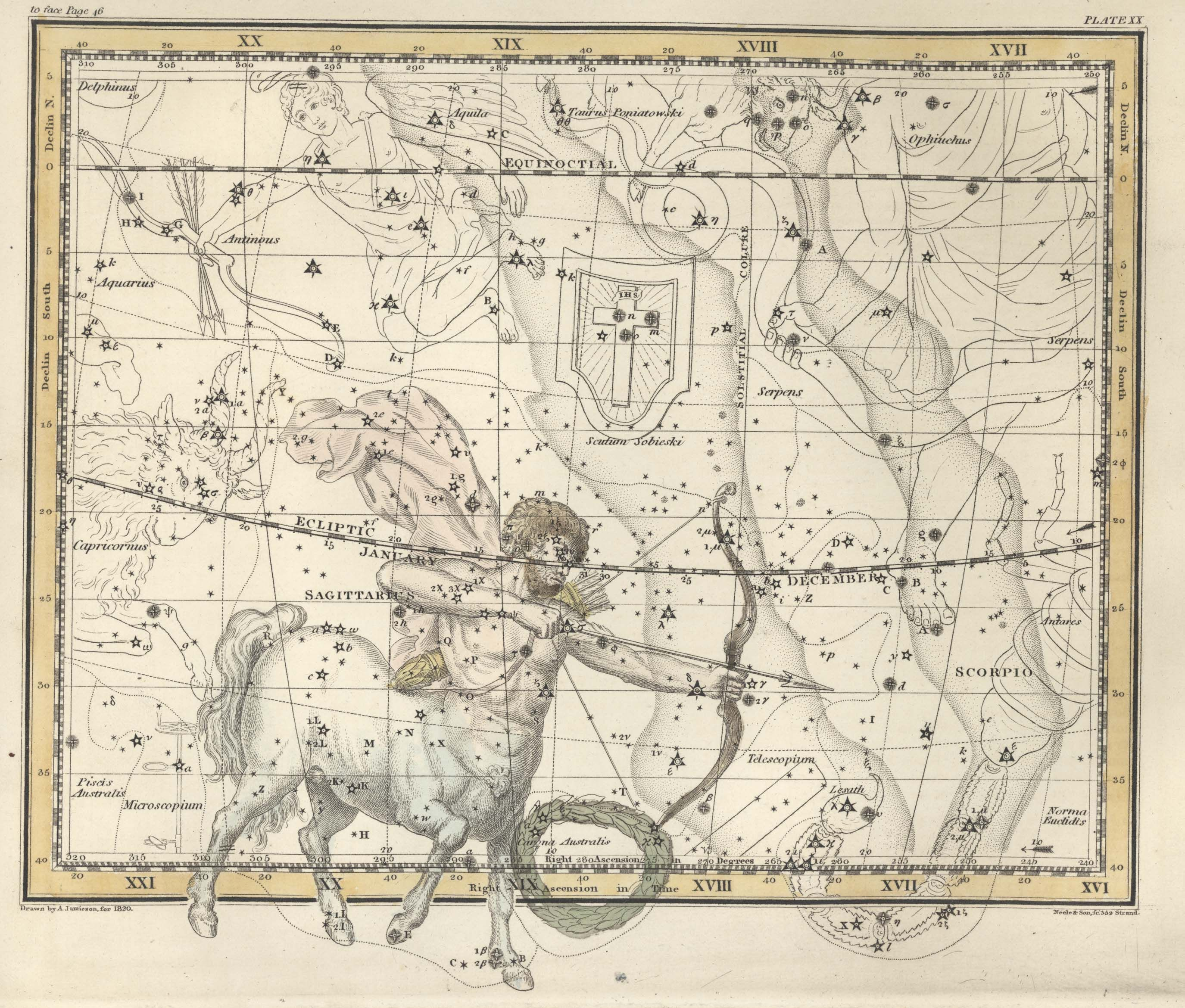 Alexander Jamieson Celestial Atlas 1822 Plate 20 Sagittarius Corona Australis Constellations Constellations Antique Maps Constellation Print