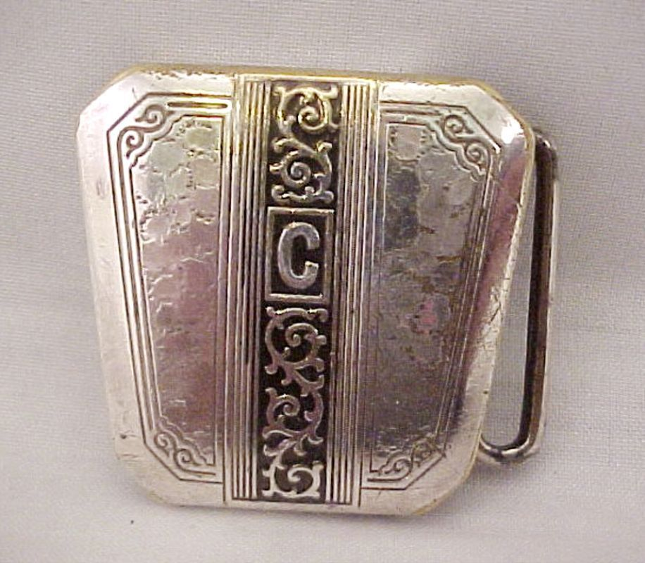 Vtg 1930s Deco Hickok Duro Plate C Initial Black Enamel Hammered Belt Buckle