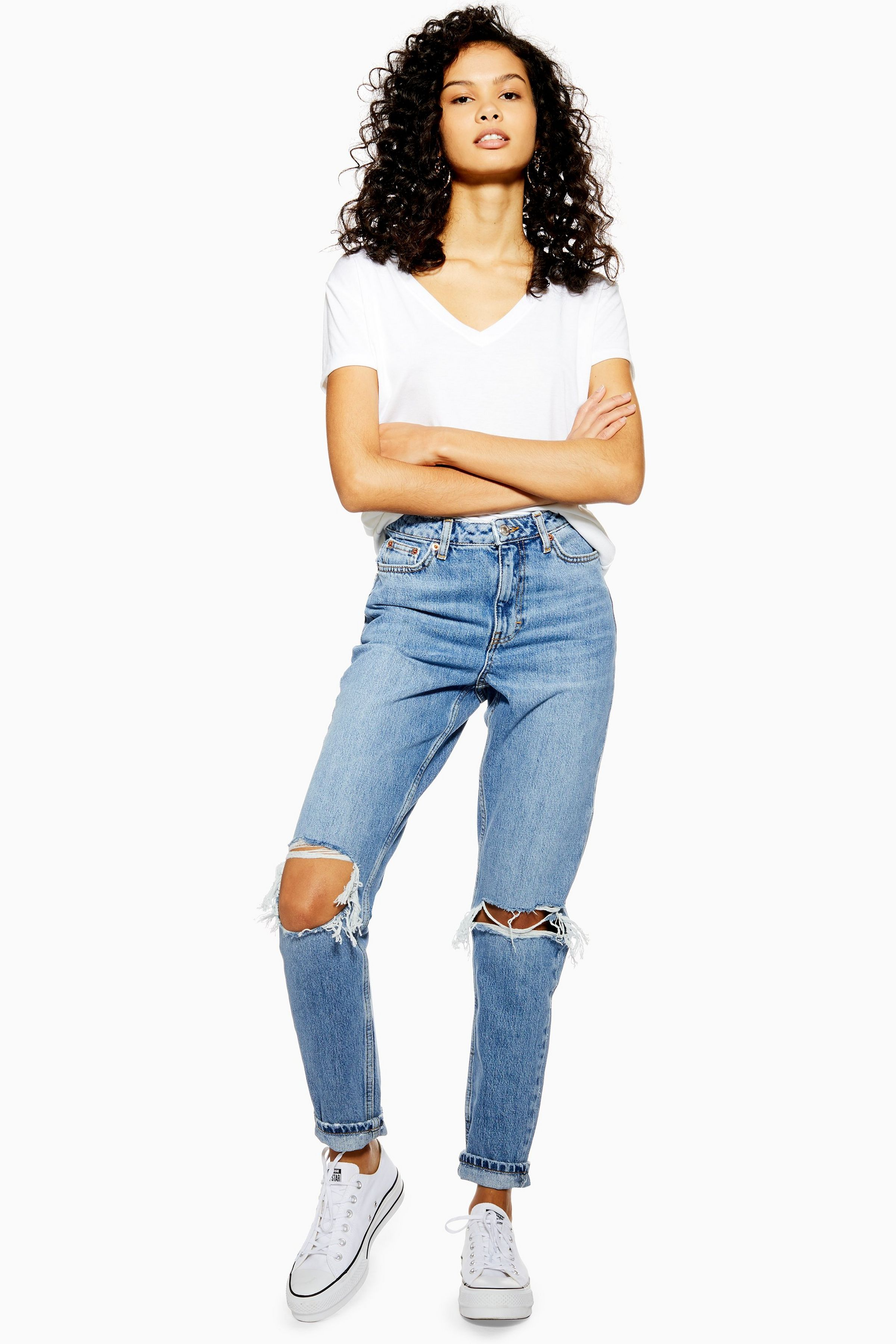 highly praised top-rated cheap 2019 authentic Mid Blue Double Knee Ripped Mom Jeans | Clothes in 2019 ...