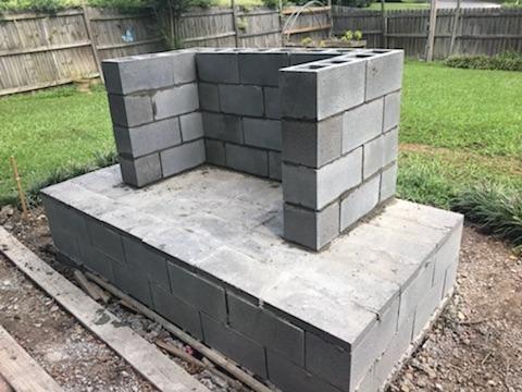 Cinderblock Concrete Slab Diy Outdoor Fireplace Grass Backyard Diy Outdoor Fireplace Outdoor Fireplace Plans Outdoor Stone Fireplaces