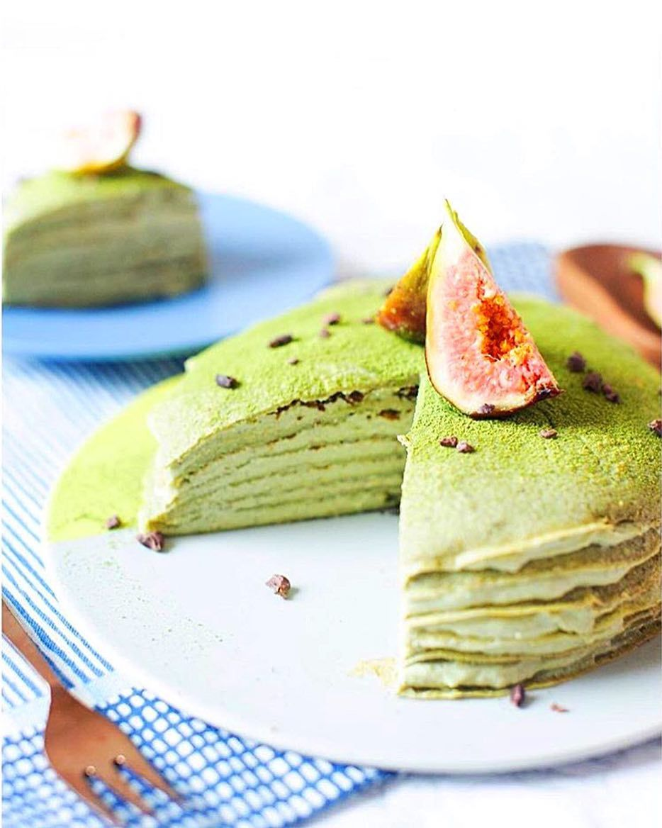 Check out this delightfully green vegan matcha crepe cake