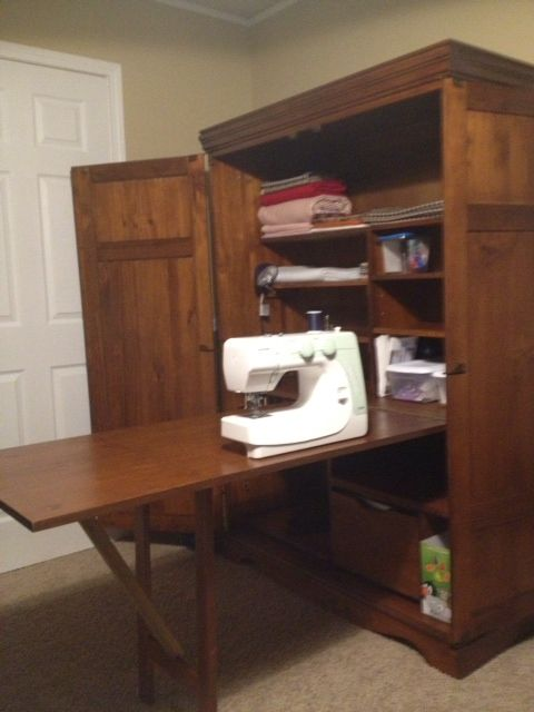 Sewing Cabinet With Table Folded Out Sewing Room Design