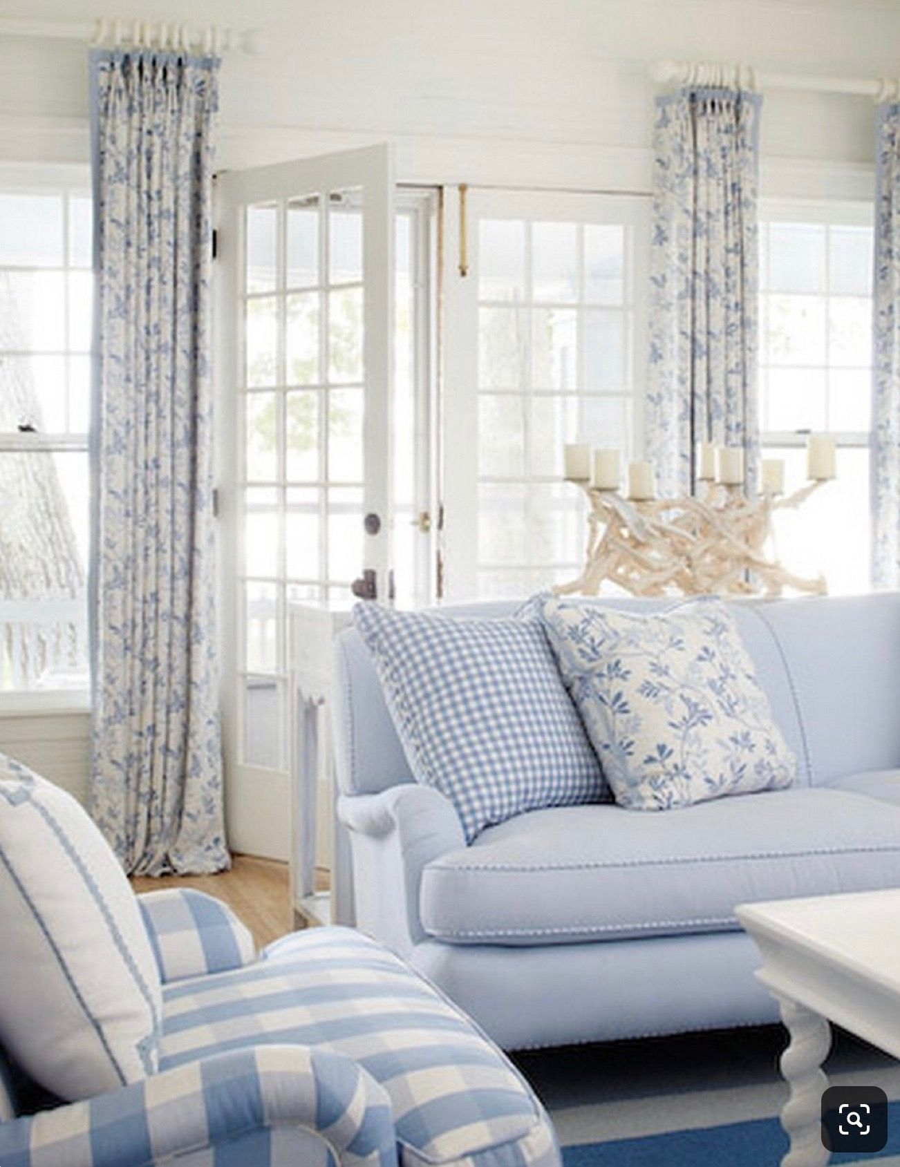 Blue & white ️ | Blue and white living room, French ...