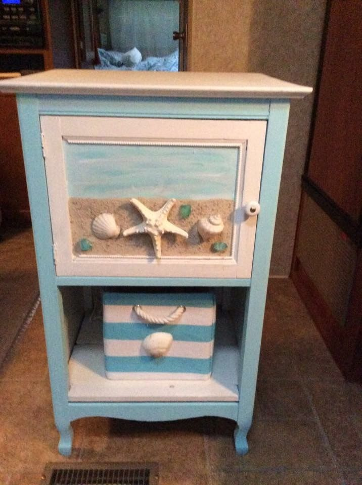 Nautical Facelift To An Old Jam Cupboard By Gluing Sand And Shells Onto Door Painting Old Furniture Beach Themed Bedroom Decor