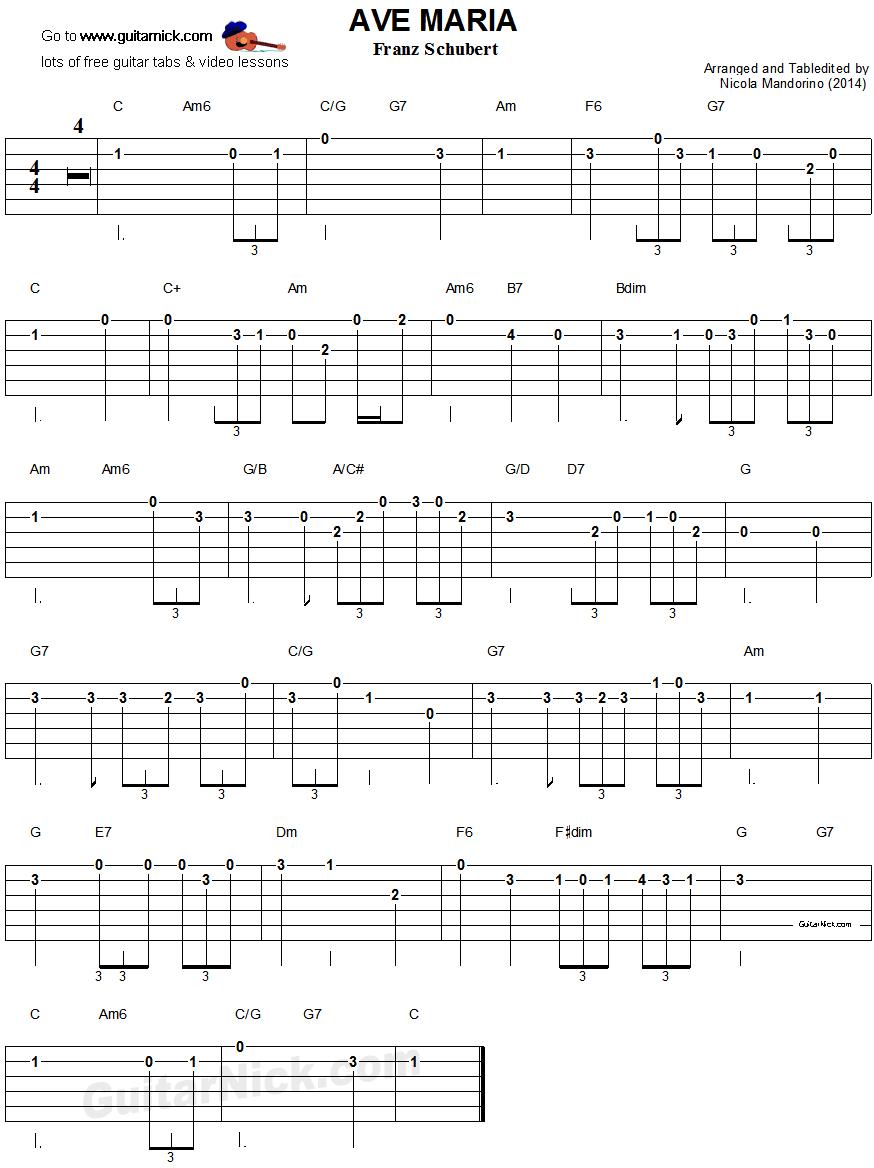 Ave Maria Schubert Easy Guitar Tablature Guitar Music