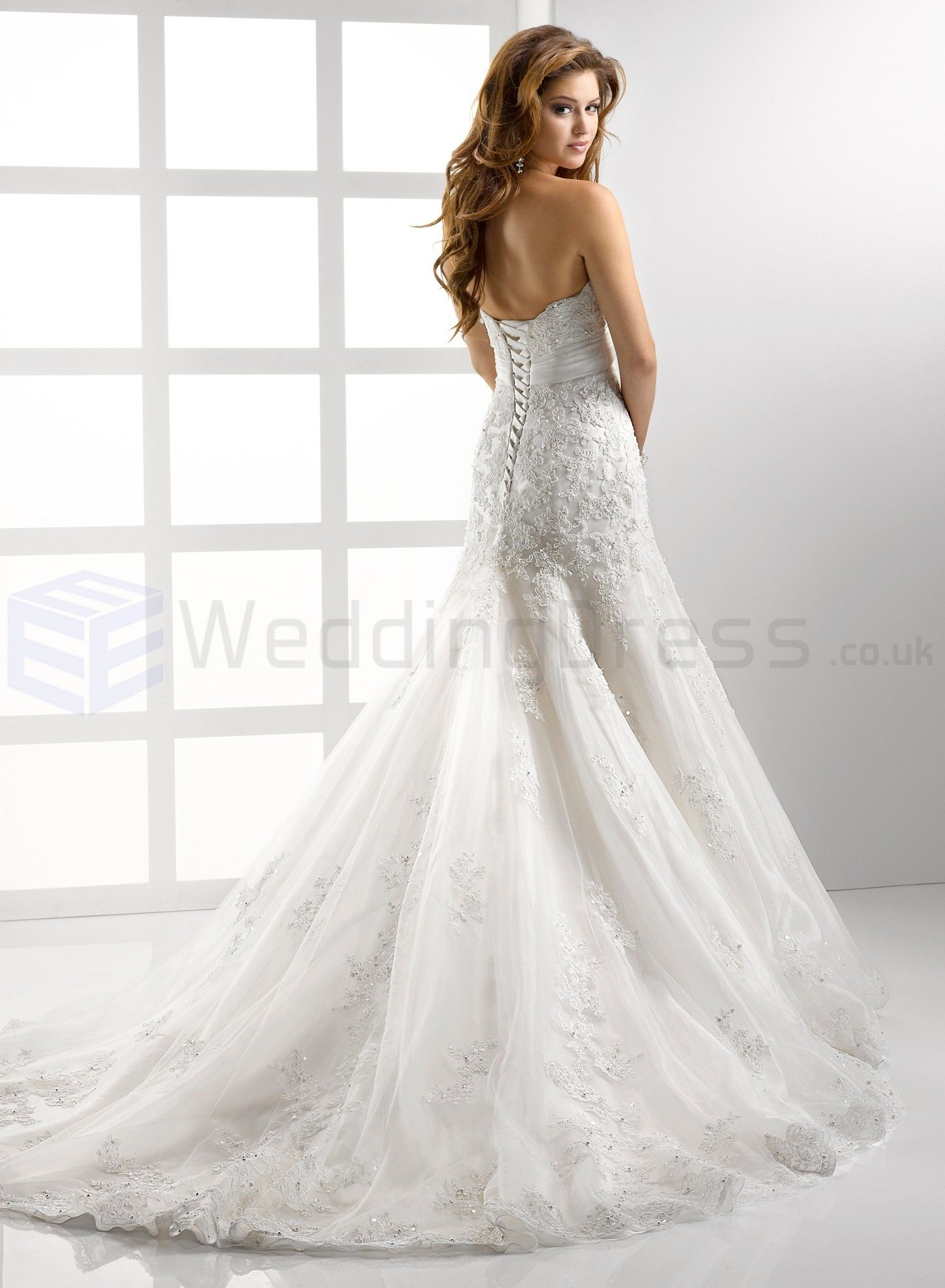 a2b91ee7f98 Embellished Lace And Tulle Soft Sweetheart Neckline Fit and Flare A-line  Wedding Dress