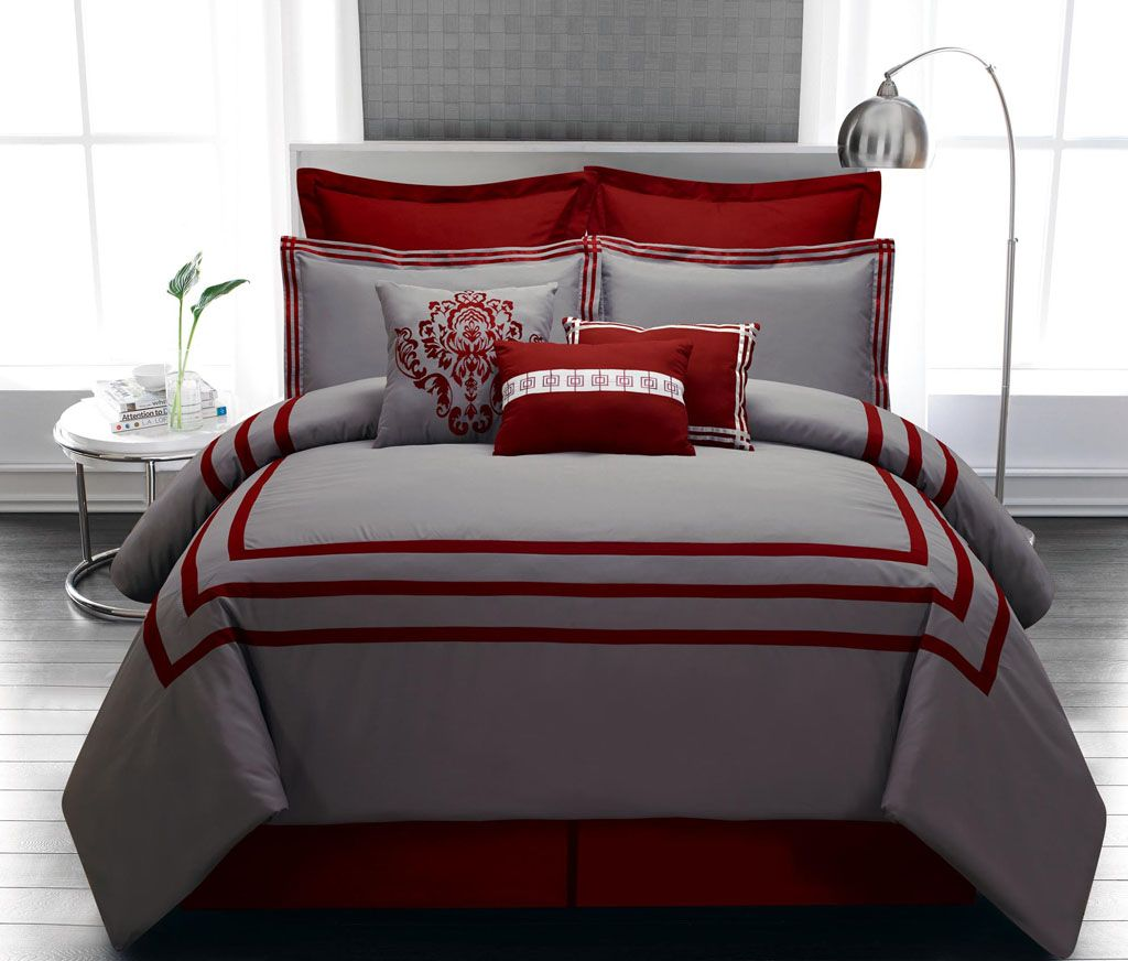 Elegant Bedroom With Nice Grey Queen Bedding Ideas, Gray Comforter With  Crimson Red Stripe,