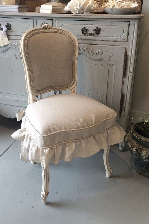 Dining Chair Seat Covers Etsy How Much Does It Cost To Reupholster A Linen Ruffle Slip Cover By Fullbloomcottage On French