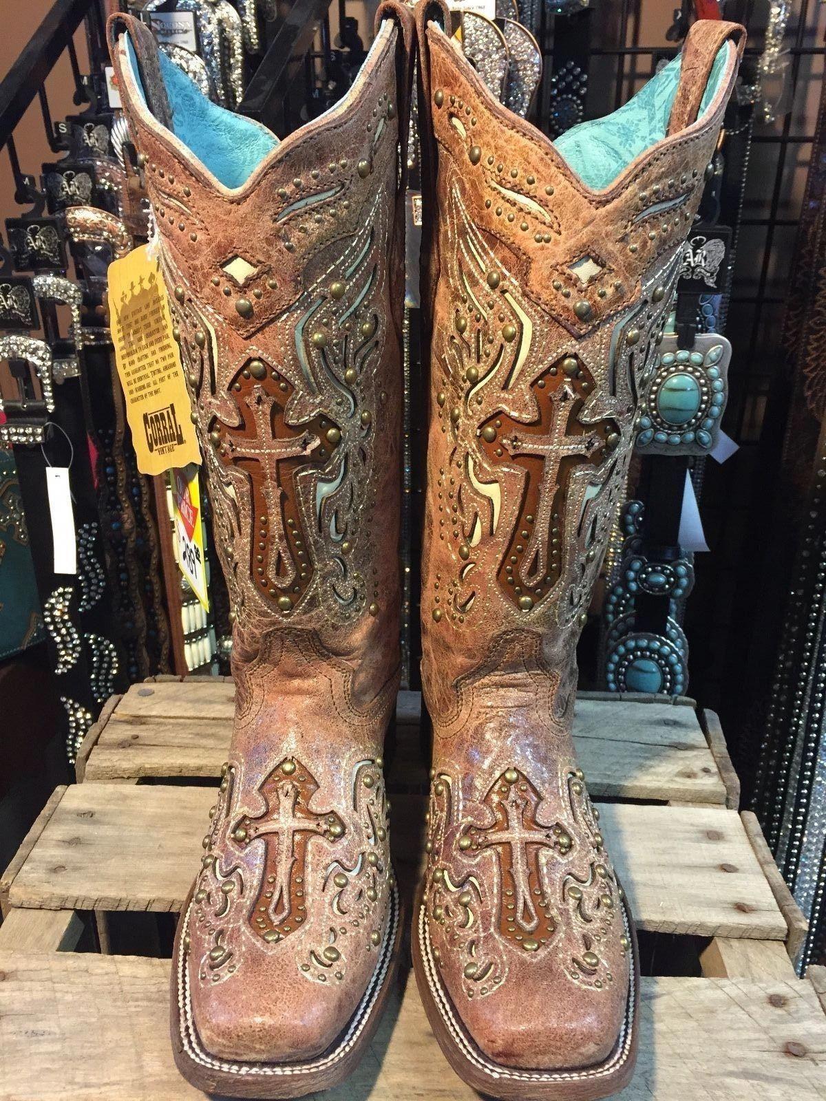 88045722444 Corral Ladies Cognac Bone Inlay Cross   Studs Square Toe Boot - C2856   weddingboots