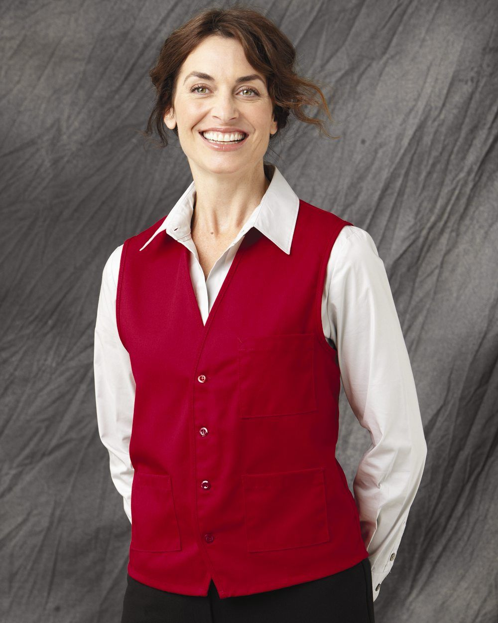 From chef designs comes this vneck button front vest