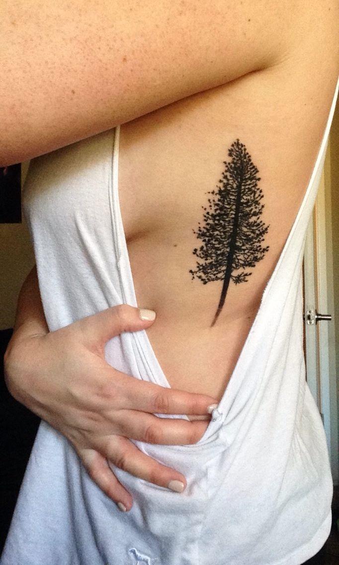 Pine Tree Tattoo On My Siderib Cage Tattoos Piercings