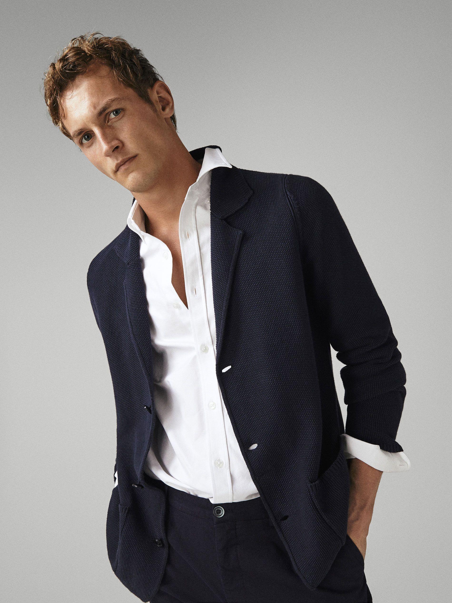Cardigan Blazer Din Bumbac Structurat Bărbați Massimo Dutti Blazer Fashion Cardigan Men Cotton Blazer
