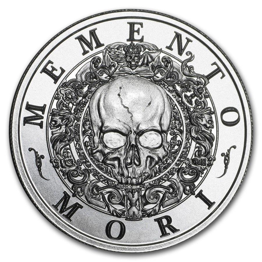"""1 oz Memento Mori /""""The Last Laugh/"""" Antique Finish .999 Silver Round Coin NEW!"""