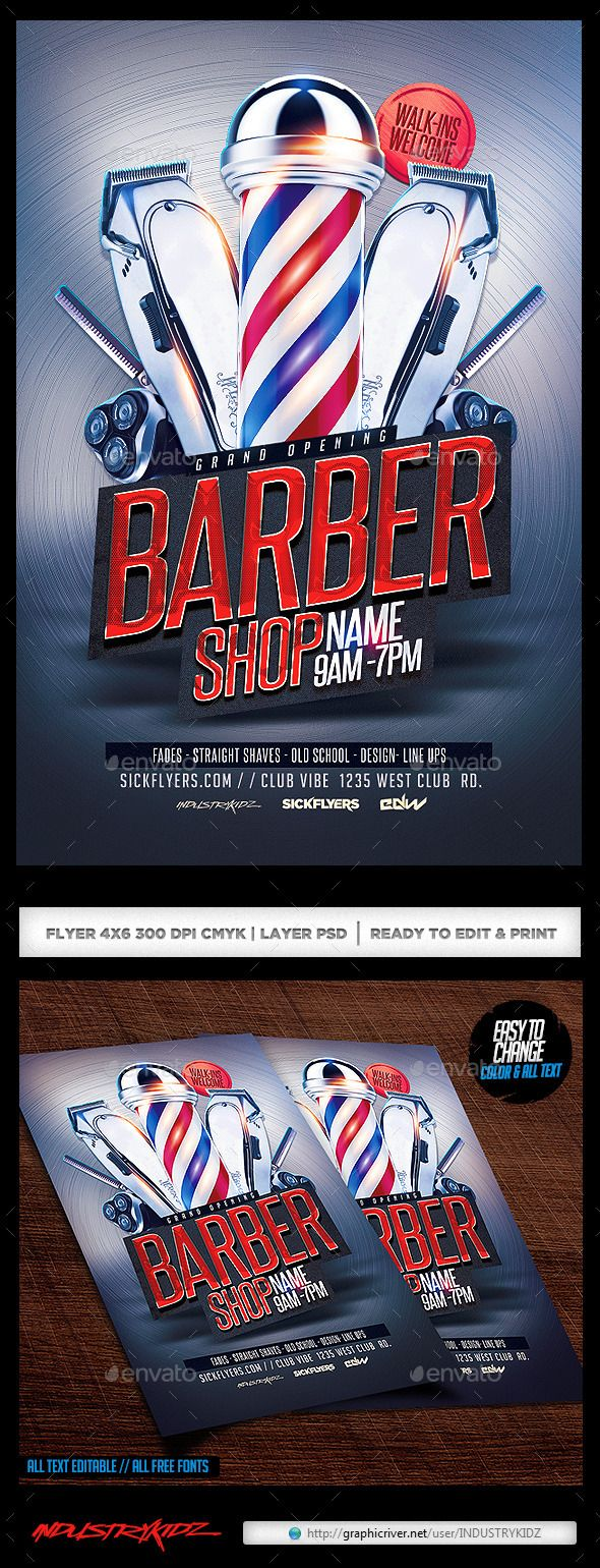 Barbershop Flyer | Urban, Blue and Flyers