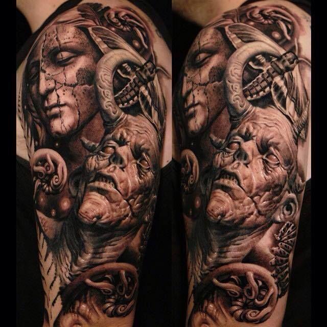 Realistic Angel Demon Tattoo By Sergio Sanchez Demon Tattoo Angel Demon Tattoo Creepy Tattoos