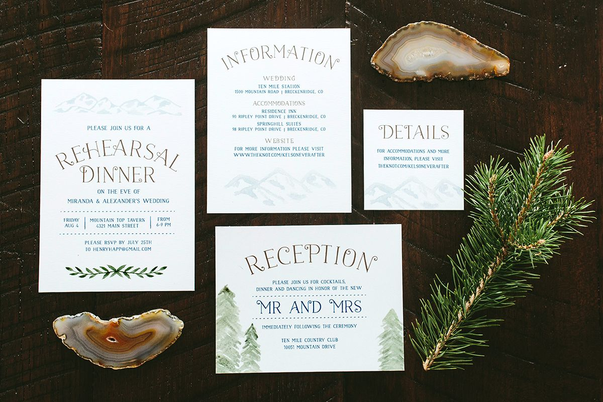 Rustic Mountain Wedding Invitations Details & Directions ...